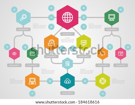 Flat UI Design. Social network mapping. Vector. - stock vector
