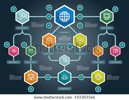Flat UI Design. Social network mapping. Vector eps 10 - stock vector