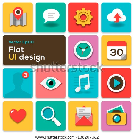 Flat UI design trend set icons, vector illustration. - stock vector