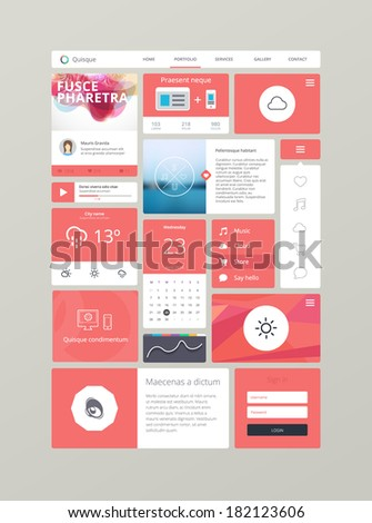 Flat ui kit for responsive web design in red. Adaptive web elements for 960 grid - stock vector