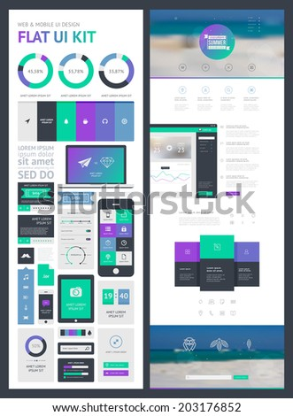 flat UI kit for web and mobile, UI design, page website design template. All in one set for website design that includes one page website templates, and flat design concept illustrations.  - stock vector