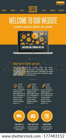 Flat UI landing page design template - stock vector