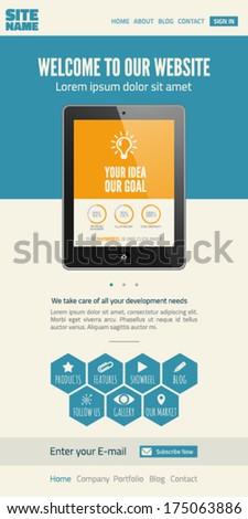 Flat UI website design template - stock vector