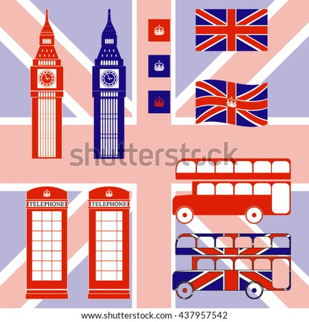 Flat UK, London travel object set