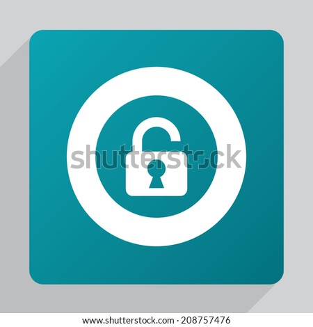 flat unlock icon, white on green background