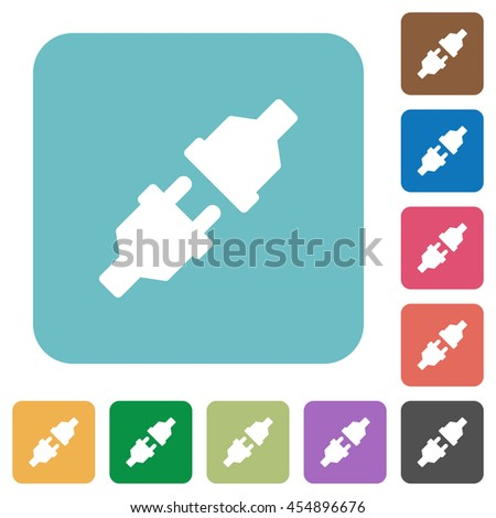 Flat unplugged power connectors icons on rounded square color backgrounds. - stock vector