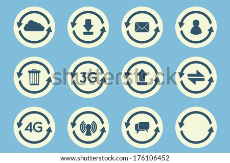 Flat update arrow icons set - stock vector