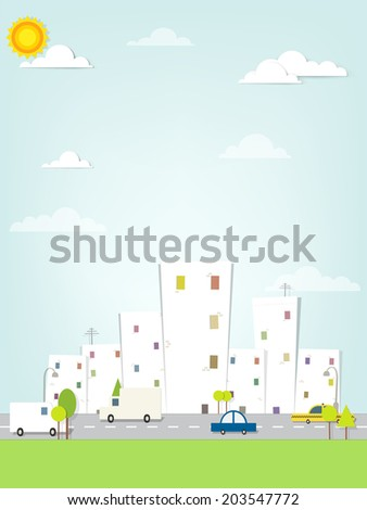 flat urban landscape - stock vector