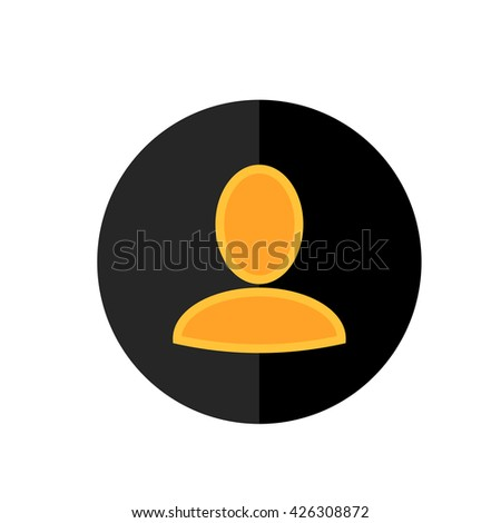 Flat User Icon in Circle Frame for Web, App, Internet, Smartphone Interface. Vector Avatar Button - stock vector