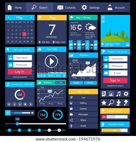 Flat user interface modern mobile design template with business applications vector illustration - stock vector