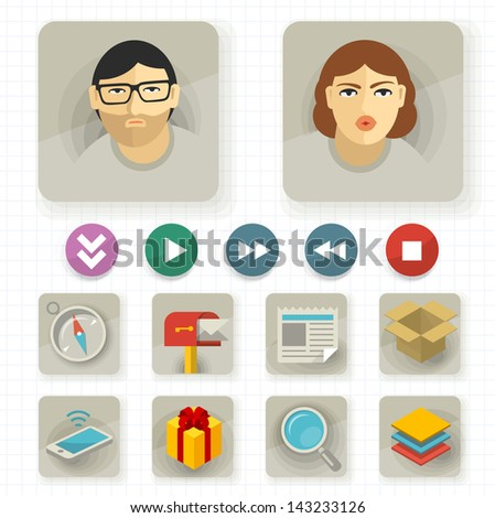 Flat user interface vector icon set. - stock vector