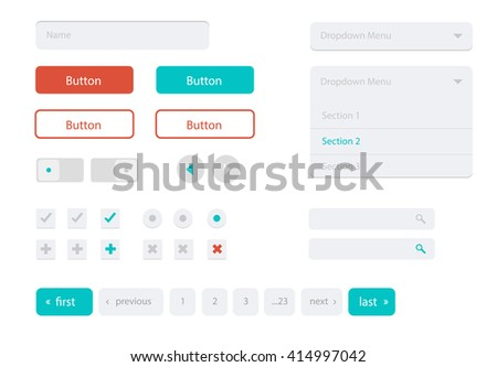Flat user interface vector set for website development and mobile application design with lots of colorful stylish icons, buttons, control elements and forms in modern fresh design style. - stock vector