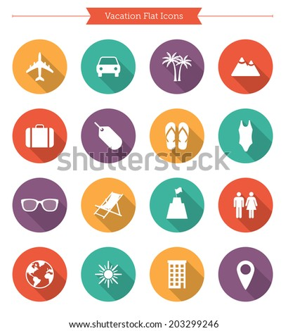 Flat vacation icons - stock vector