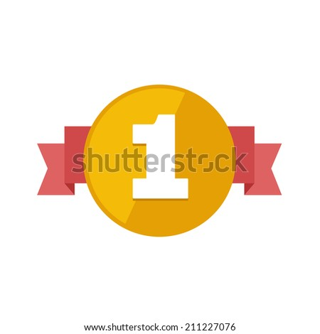 Flat vector award icon, first place on white background