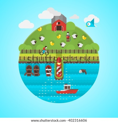 flat vector background with farming and fishing - stock vector