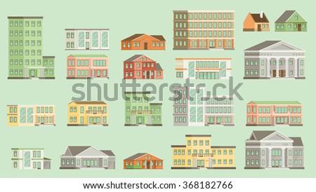 Flat vector buildings. - stock vector