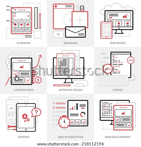 Flat vector business icons set. Corporate style. Outlined IT icons for web site. - stock vector