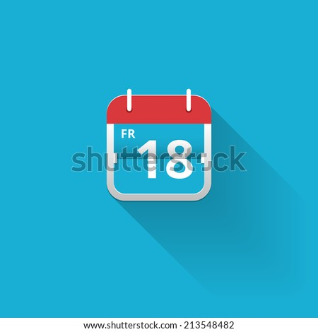 Flat vector calendar icon with a red hanger showing the date of friday 18th on a blue background with copyspace - stock vector
