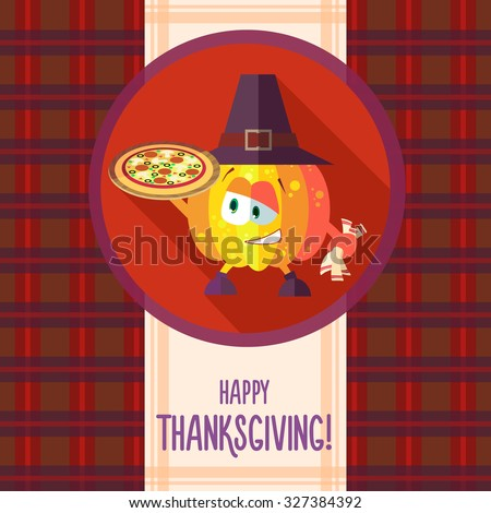 Flat vector card with chef cartoon pumpkin and kitchenware for menu in a restaurant or an invitation to Thanksgiving Day - stock vector