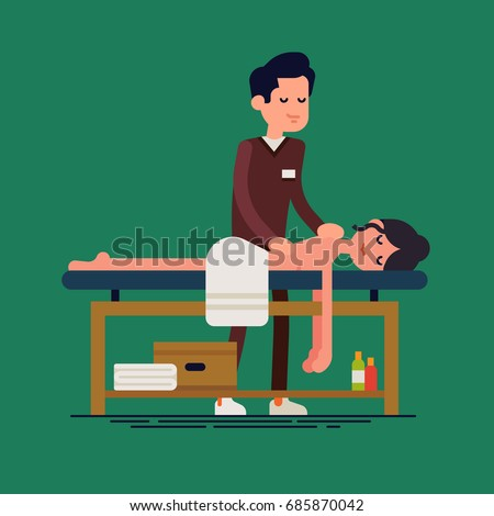 Flat vector character design on massage therapist and client. Woman relaxing on massage table getting treated by male masseur