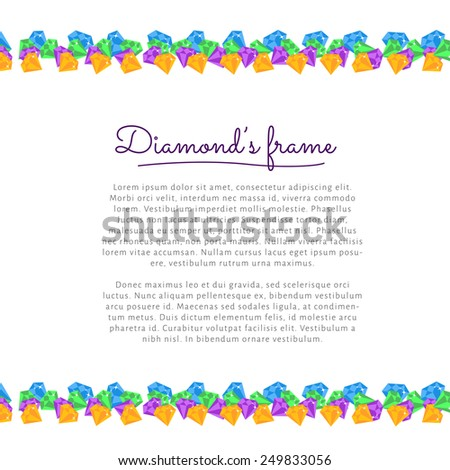 Flat vector circle frame border with Diamond, gemstones. Card template - stock vector