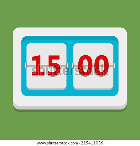 Flat vector clock icon on green background, timetable - stock vector