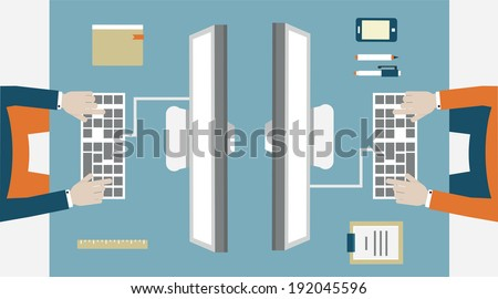 Flat vector concept of business workflow - vector illustration - stock vector