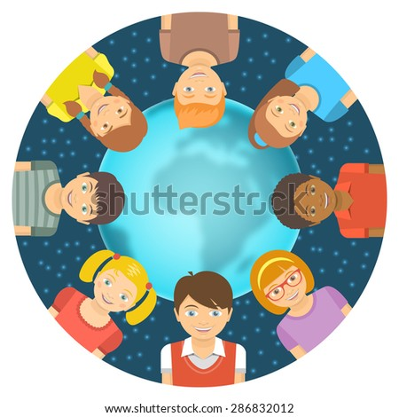 Flat vector conceptual illustration of children of different races around the Earth in front of starry sky. Childhood friendship worldwide. Smiling happy kids on blurred globe with copy space for text - stock vector