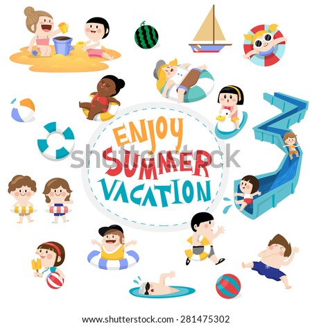Flat vector design element and children for summer season. kids playing on the beach and swimming in the pool. Lettering Enjoy summer.  - stock vector
