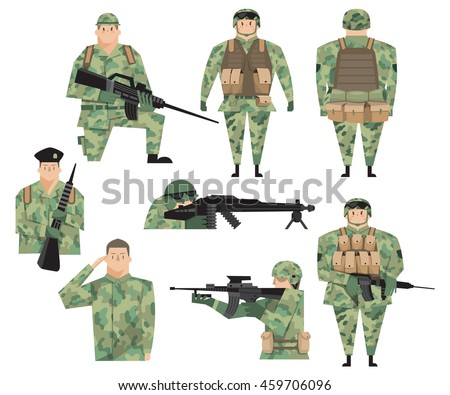 Flat vector design elements of soldiers with guns and military supplies.