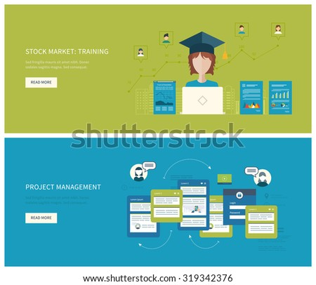 Flat vector design illustration concept for project management  stock market - training. Concept to building successful business - stock vector