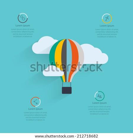 Flat vector design of the startup process, cloud storage, responsive web design, hot air balloon - stock vector