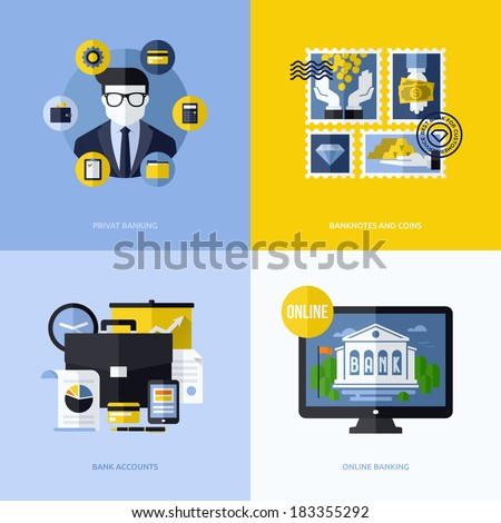 Flat vector design with banking symbols and icons. Conceptual illustrations of private banking, banknotes and coins, bank accounts and online banking - stock vector