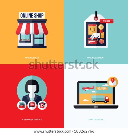 Flat vector design with e-commerce and online shopping icons and elements. Symbols of online shop, online payment, customer service and delivery - stock vector