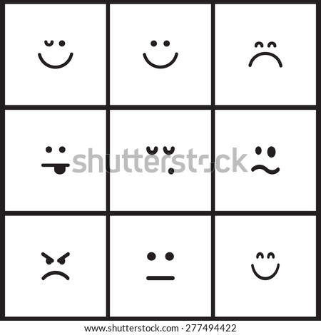 Flat vector emotion icons with smiley, cartoon faces - stock vector