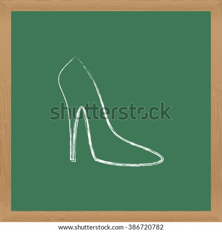 Flat vector icon. Chalk on a blackboard. Women's shoes.