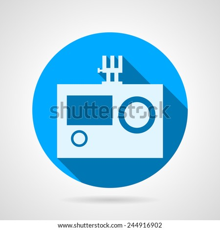 Flat vector icon for action camera. Blue round vector icon with white silhouette action camera for extreme sport on gray background. Flat design with shadow. - stock vector