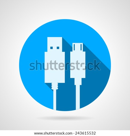 Flat vector icon for USB cable. Blue round vector icon with white silhouette two USB plug on gray background. Flat design with shadow. - stock vector
