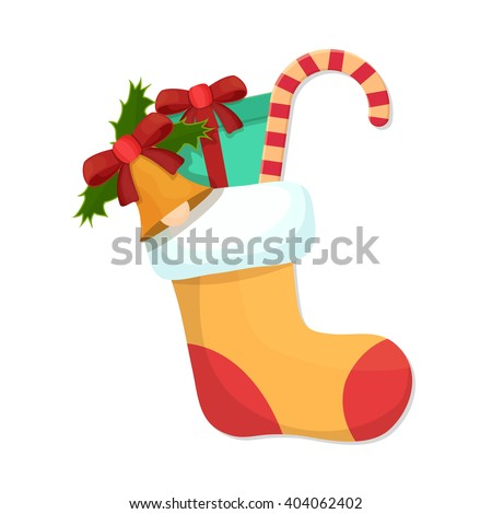 flat Vector icon - illustration of Christmas card with christmas stocking icon isolated on white - stock vector