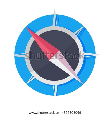 flat Vector icon - illustration of compass isolated on white - stock vector