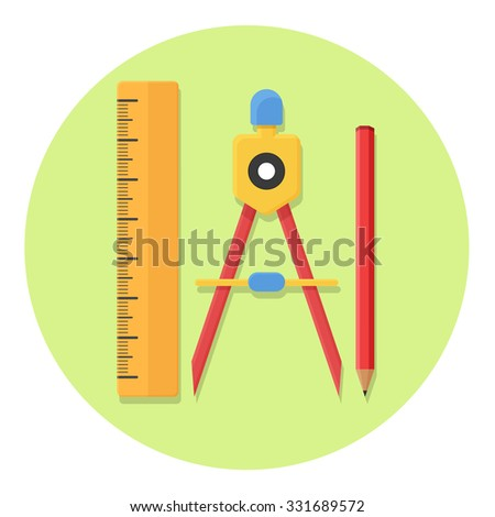 flat Vector icon - illustration of Drawing Compass Pencil and Ruler icon - stock vector