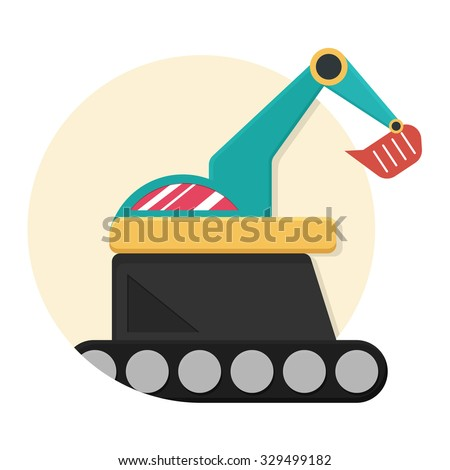 flat Vector icon - illustration of excavator icon isolated on white - stock vector