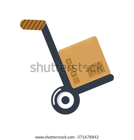 flat Vector icon - illustration of hand truck icon isolated on white - stock vector