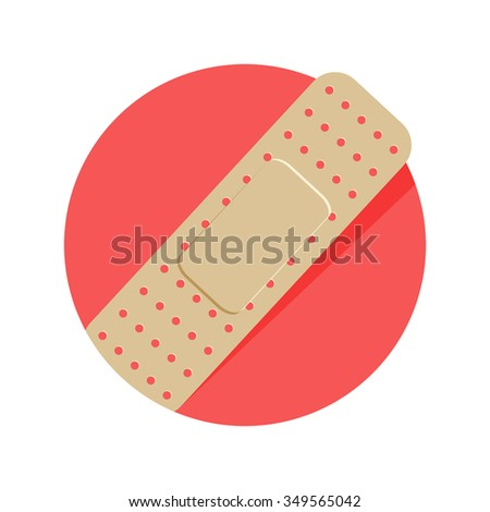 flat Vector icon - illustration of injury tape plaster icon isolated on white - stock vector