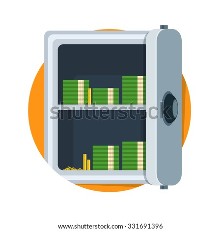 flat Vector icon - illustration of open safe icon isolated on white - stock vector
