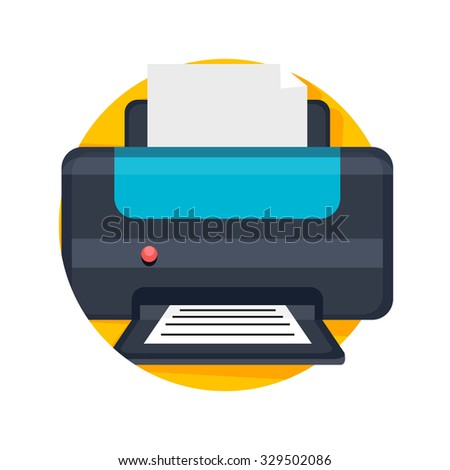 flat Vector icon - illustration of printer icon isolated on white - stock vector