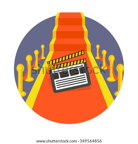 flat Vector icon - illustration of red carpet with movie clapper  icon isolated on white - stock vector