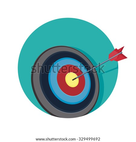 flat Vector icon - illustration of target and arrow icon isolated on white - stock vector