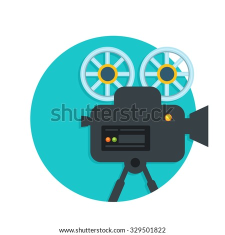 flat Vector icon - illustration of video camera icon isolated on white - stock vector