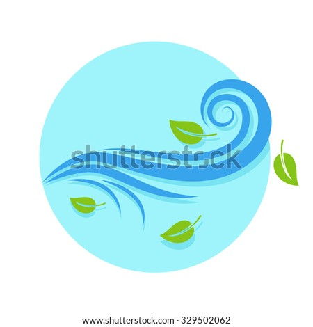 flat Vector icon - illustration of wind icon isolated on white - stock vector
